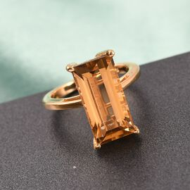 Citrine Solitaire Ring in 14K Gold Overlay Sterling Silver 6.00 Ct.