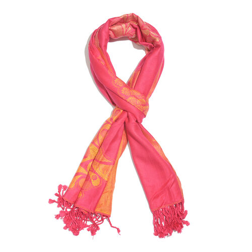 Pink and Yellow Colour Peacock Pattern Scarf with Tassels (Size 200X70 Cm)