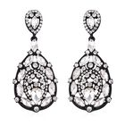 Simulated Diamond (Pear and Mrq), White Austrian Crystal Drop Earrings (with Push Back) in Black Ton