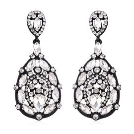 Simulated Diamond Pear and White Austrian Crystal Drop Earrings in Black Tone