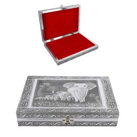 Close Out Deal- Teak Wood Elephant Family Hand Crafted Aluminium Embossed 100 - Ring Box