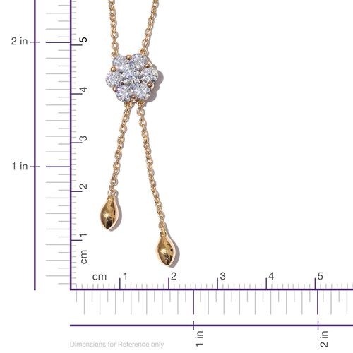 J Francis - 14K Overlay Sterling Silver (Rnd) Lariat Necklace (Size 18) Made with SWAROVSKI ZIRCONIA