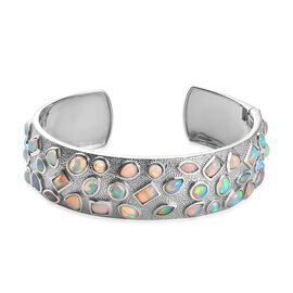 12 Carat Ethiopian Welo Opal Cuff Bangle in Platinum Plated Sterling Silver 7.5 Inch