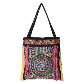 Embroidered Floral Pattern Tassel Tote Bag with Zipper Closure (Size 43x43 Cm) - Multi