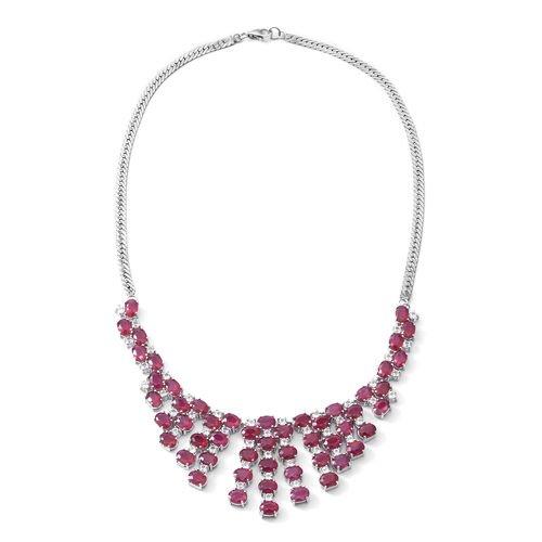 African Ruby (Ovl), White Topaz Necklace (Size 18) in Rhodium Plated Sterling Silver 58.000 Ct. Silver wt 35.00 Gms. Number of Gemstone 101