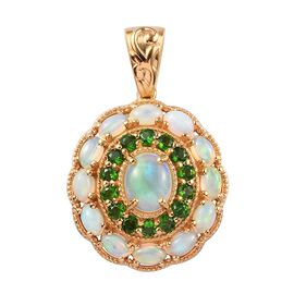 4.47 Ct Ethiopian Welo Opal and Russian Diopside Cluster Floral Pendant in Gold Plated Silver