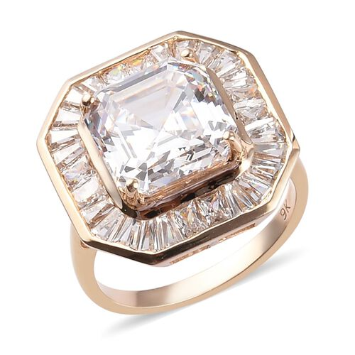 J Francis - 9K Yellow Gold Ring Made with SWAROVSKI ZIRCONIA 11.00 Ct.