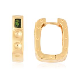RACHEL GALLEY 1.05 Ct Russian Diopside Hoop Earrings in Gold Plated Sterling Silver 7.89 Grams With