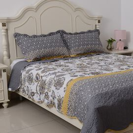White, Grey and Yellow Colour Flower Printed Quilt (Size 260x240 Cm) with 2 Pillow Shams (Size 70x50 Cm)