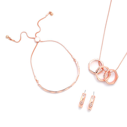 3 Piece Set - White Austrian Crystal Pendant with Chain (Size 27 with Extender), Bolo Bracelet (Size