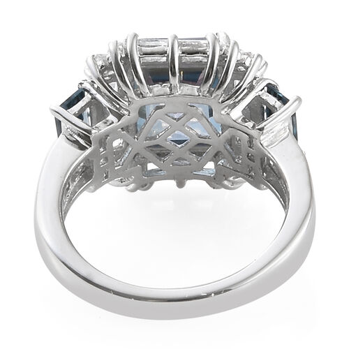 Mystic Neptune Topaz (Oct 4.00 Ct), White Topaz and London Blue Topaz Ring in Platinum Overlay Sterling Silver 6.750 Ct.