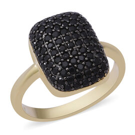 2.15 Ct Boi Ploi Black Spinel Cluster Ring in Gold Plated Sterling Silver 5 Grams
