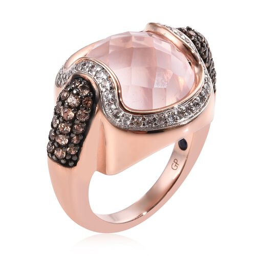 GP Rose Quartz (Rnd), Natural Cambodian Zircon, Brown Zircon and Blue Sapphire Ring in Rose Gold Overlay Sterling Silver 12.75 Ct, Silver wt 8.00 Gms