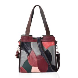 Designer Inspired -100% Genuine Leather Multicolour Blocking Pattern Tote Bag with Detachable Should