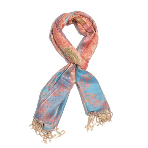 Peach and Multi Colour Scarf with Fringes at the Bottom (Size 180x70 Cm)