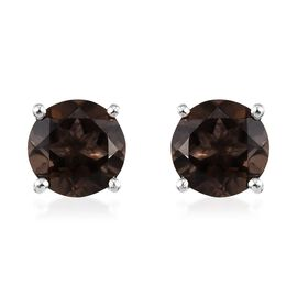 Brazilian Smoky Quartz (Rnd) Stud Earrings (with Push Back) in Platinum Overlay Sterling Silver 2.50