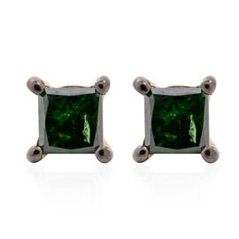 9K Yellow Gold Green Diamond (Sqr) Stud Earrings (with Push Back) 0.40 Ct.