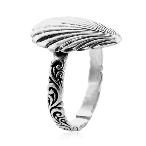 Royal Bali Collection - Sterling Silver Adjustable Shell Ring, Silver wt 3.72 Gms