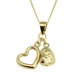 Diamond Cut Heart Charms Pendant with Chain in 9K Gold 18 Inch