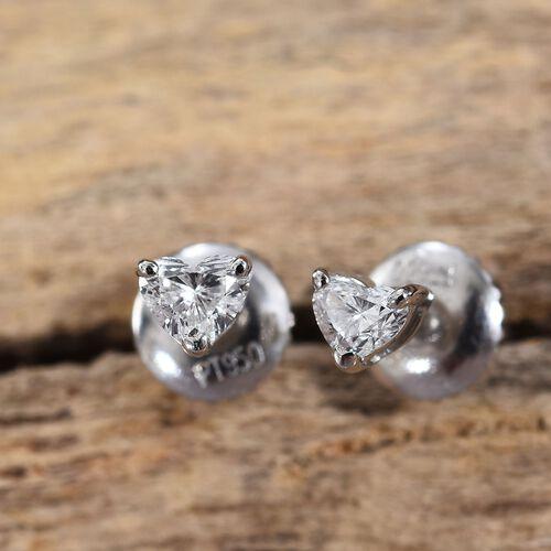 RHAPSODY 950 Platinum IGI Certified Diamond (Hrt) (VS/E-F) Heart Stud Earrings (with Screw Back) 0.250 Ct.