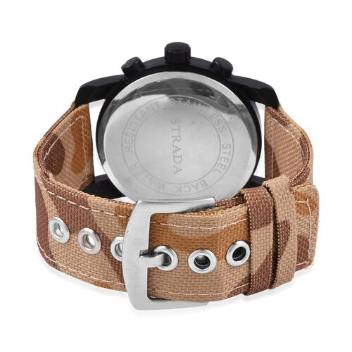 STRADA Japanese Movement Water Resistant Coffee Camouflage Watch with Nylon Strap