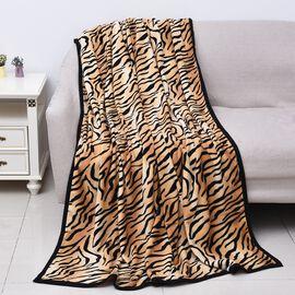 Super Soft Microfibre Plush Blanket Tiger Print (Size 150x200 Cm) - Black and Brown Colour