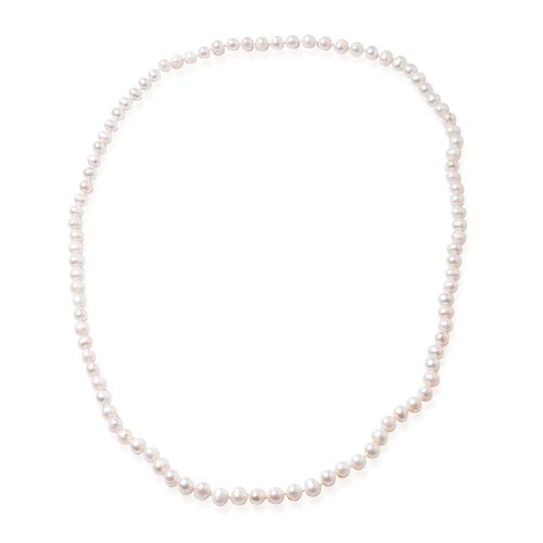 High Shine Triple Lustre Freshwater White Pearl (Rnd) Beads Necklace (Size 36)