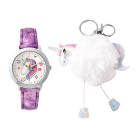 2 Piece Set - STRADA Japanese Movement Unicorn Pattern Water Resistant Watch with Purple Strap and U