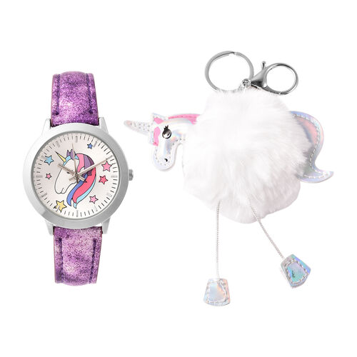 2 Piece Set - STRADA Japanese Movement Unicorn Pattern Water Resistant Watch with Purple Strap and U