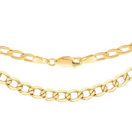 9K Yellow Gold Diamond Cut Curb Chain (Size 22), Gold wt 7.36 Gms.