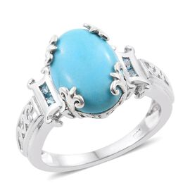 4.75 Ct Sleeping Beauty Turquoise and Topaz Solitaire Ring Platinum Plated Silver