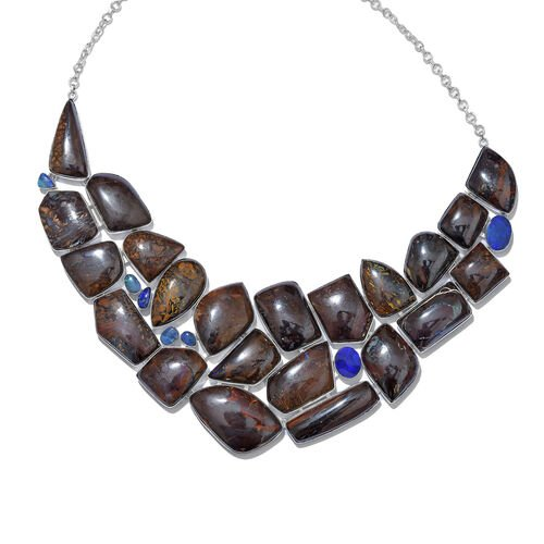 One Of A Kind Boulder Opal Rock and Opal Double Necklace Size 18 in Silver