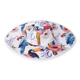 Hat with Bird Pattern (Size 58.4 Cm) - White and Multi Colour