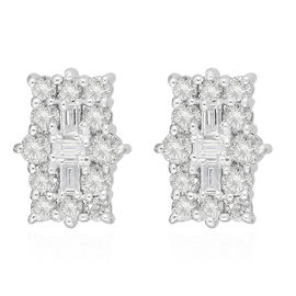 9K White Gold SGL Certified Natural Diamond (I3/G-H) Boat Cluster Stud Earrings (with Push Back) 1.0