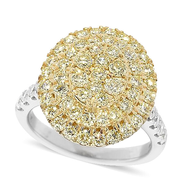 NY Close Out Deal- 14K Yellow & White Gold Natural White and Yellow Diamond (I2 /G-H) Cluster Ring 2