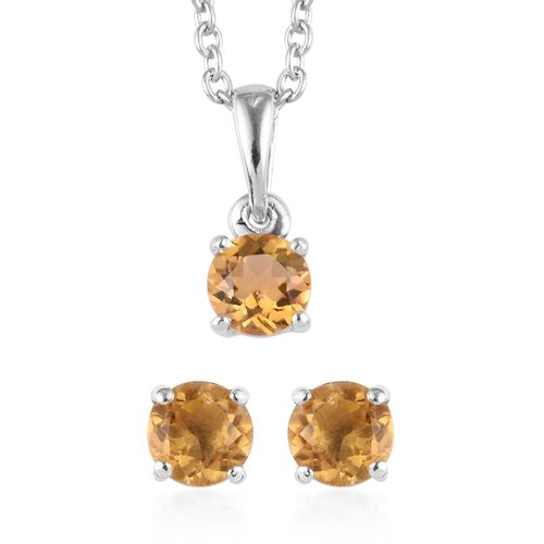 3 Piece Set - Citrine Pendant with Chain (Size 18) and Stud Earrings (with Push Back) in Platinum Ov