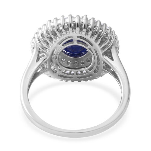 Kanchanaburi Blue Sapphire (Ovl 11x9 mm), White Topaz Ring in Rhodium Overlay Sterling Silver 8.160 Ct.