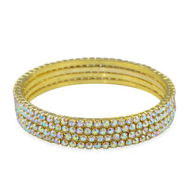 4 Piece Set Simulated Rainbow Sapphire Stacker Bangle in Gold Tone 7.75 Inch