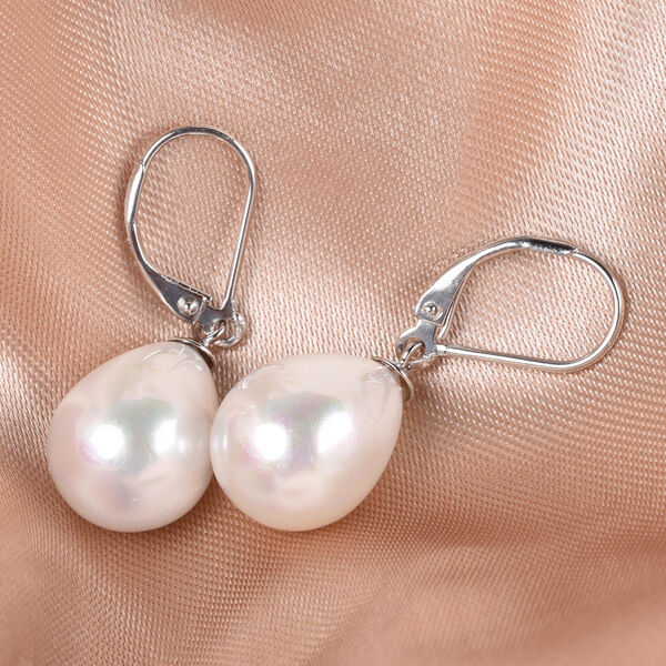 MP White Shell Pearl Lever Back Drop Earrings in Rhodium Overlay Sterling Silver