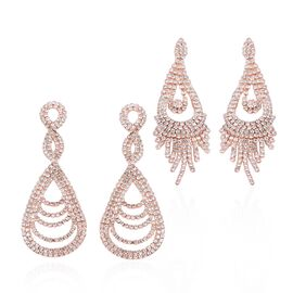 Set of 2 White Austrian Crystal (Rnd) Drop and Infinity Dangle Earrings (with Push Back) in Rose Gold Tone