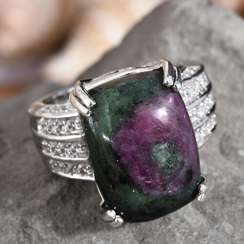 Ruby Zoisite (Cush 16x12 mm), Natural Cambodian Zircon Ring in Platinum Overlay Sterling Silver 16.00 Ct, Silver wt 5.40 Gms.