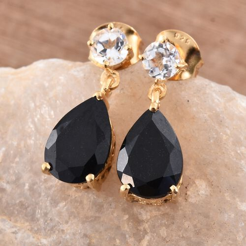 Black Tourmaline (Pear), White Topaz Drop Earrings (with Push Back) in 14K Gold Overlay Sterling Silver 4.750 Ct.