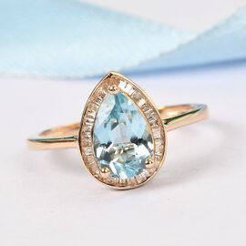 9K Yellow Gold Santamaria Aquamarine and Diamond Halo Ring 1.250 Ct.