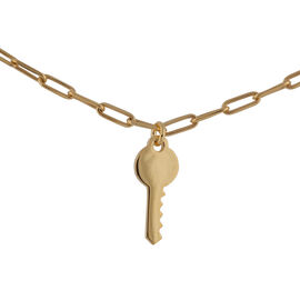 Italian Made - Gold Overlay Sterling Silver Key Belcher Necklace (Size 20 with 2 inch Extender)