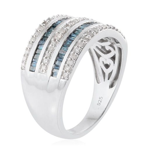 Blue Diamond (Bgt), White Diamond Ring in Platinum Overlay Sterling Silver 1.000 Ct.