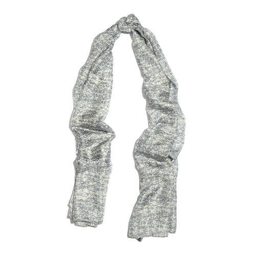 100% Mulberry Silk Light Grey and White Colour Handscreen Printed Scarf (Size 170x100 Cm)