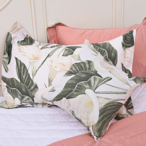4 Piece Set - Calla Lily Leaf Pattern 100% Mulberry Silk Filled Quilt with 100% Cotton Cover, 2 Pillow Cases and Cushion Cover (Size King) - White, Green and Peach