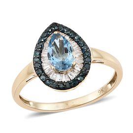 Designer Inspired-9K Yellow Gold AA Santa Maria Aquamarine (Pear), Blue and White Diamond Ring 1.000