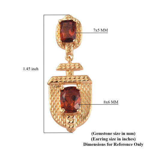 Cherry Citrine Earrings (with Push Back) in 14K Gold Overlay Sterling Silver 4.50 Ct, Silver wt 7.68 Gms