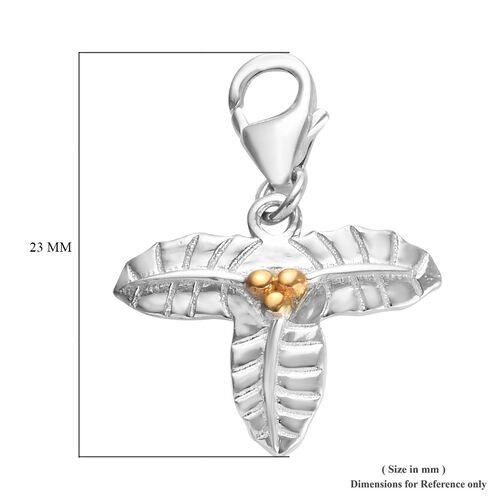 Holly December Birth Flower Charm in Platinum and Gold Plated Sterling Silver